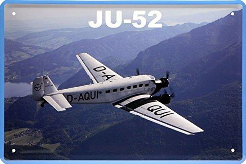 Plaque en tôle Junkers JU-52 Tante JU - En forme d'avion - 20 x 30 cm - Style rétro - 932