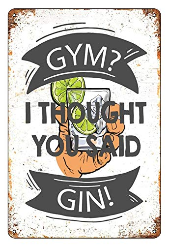 Gym Ideas dit Gin Alcohol Drink Metal Funny Tin Sign - Póster de metal, 200 x 300 mm, 1/2 metal Gift 200 x 300 mm, 1/2 valor artístico