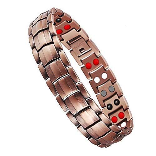 Jeracol Copper Magnetic Bracelet Copper Bracelets for Arthritis Men Pain Relief with Health 4 Element Magnets Doule Row Copper Magnetic Therapy Bracelet with Remove Tool Gift Box