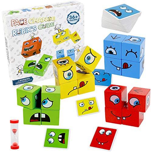 jerryvon Juguetes Montessori Puzzles Infantiles Cubos de Cara Bloques Construcción Juguetes de Madera Juegos Educativos Creativo Lógica Rompecabezas Regalos para Niños Niñas 3 4 5 6 Años