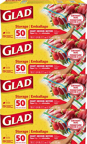 Glad Zipper Food Storage Plastic Bags - Quart - 50 Count - 4 Pack