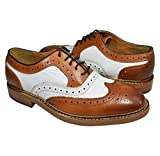 Tan and White Wing Tip Spectators by Paul Malone . 100% Leather