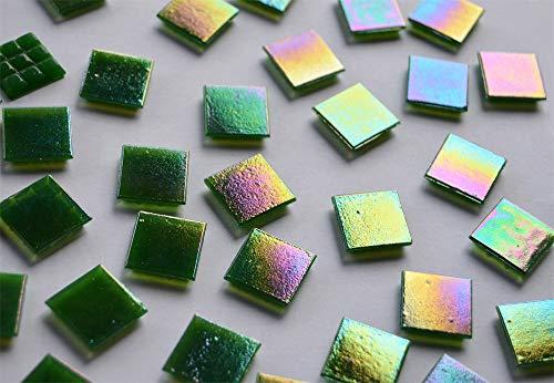 50 Stück Glas Mosaiksteine 2x2cm mit Regenbogenschimmer ca. 145g, Perlmutt Effekt (Dunkelgrün)