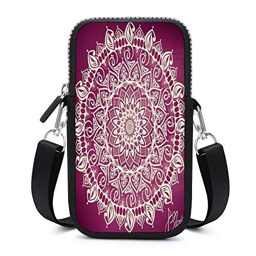 Cartera de cuero para mujer, monedero para teléfono celular, mini bolsa para tarjetas de hombro
