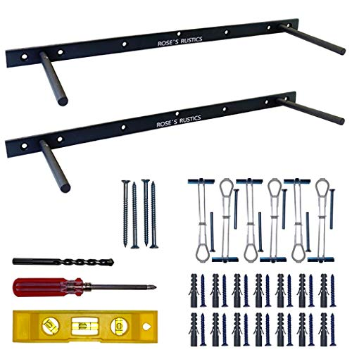 Heavy Duty Floating Shelf Brackets Set of 2 - Black Hidden Shelf Supports - Wall Mount Blind Shelving Hardware for Wood Floating Shelves with Included Tools for Drywall, Solid Wall, and Studs