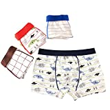 Cartoon Dinosaur Breathable Trim Cotton Boxer Briefs 4 Pcs Assorted Short Underwear Panties for Baby Boy (M/ 90-105cm, Set)