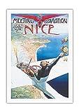 Pacifica Island Art 1910 Meeting d'Aviation - Niza, Francia - Póster de aviación de Charles-Léonce Brossé - Impresión de Arte en Lienzo 69x102cm