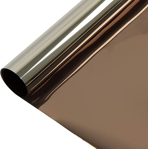 HOHOFILM 36 X 100ft Roll Bronze Silver Window Film One Way Vision Privacy Protection Residential Glass Tint Self Adhesive Sun Blocking Heat Control
