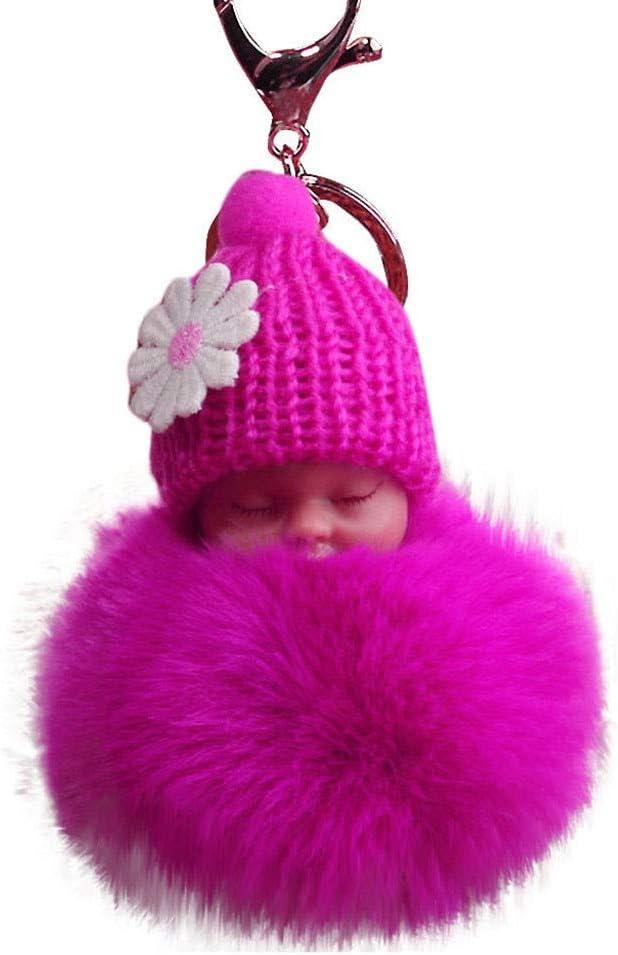 Suppion Key Chain,Solid Color Cute Fur Fluffy Sleeping Baby Doll Key Chains Keyrings Bags Charm Pendant