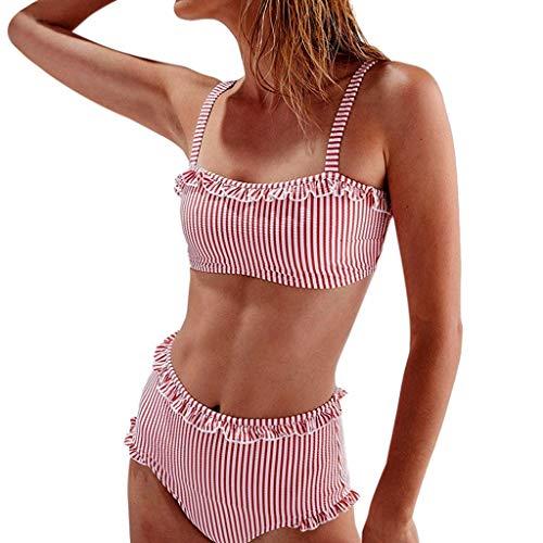 SCHOLIEBEN Bandeau Bikini Damen Set Brazilian Push Up High Waist Sexy Leoparden Triangel Oberteil BH Bade String Tanga Boho Mollige Bustier Retro Bademode Badeanzug