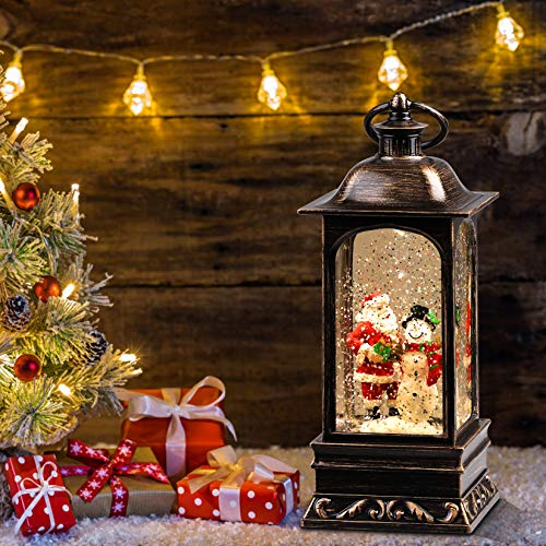 Heasylife Weihnachts Schneekugel Laterne mit wirbelndem Wasser, das für Weihnachtsdekoration und Geschenk glitzert (Schneemann-Familie)
