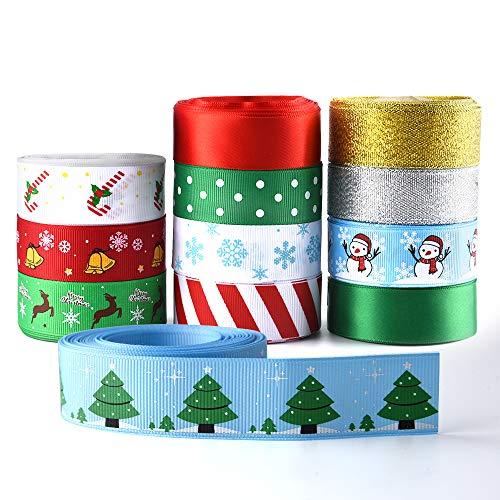 KUUQA 12 Stück gedruckt Bänder für Weihnachtsdekoration, DIY, Geschenkverpackung, 25 mm Breite 60 yd (12x5yd) eine Vielzahl von Designs