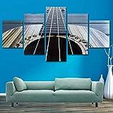 CHUADIAD Cuadros modulares Guitarra HD Impresiones Lienzo Pintura 5 Piezas Instrumentos Musicales decoración del hogar Dormitorio Pared Arte Arte Cartel-Sin Marco