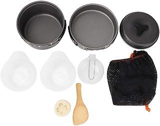 VGEBY1 Juegos de Utensilios de Cocina, Aire Libre Portátil Plegable Picnic Senderismo Camping Olla Aleación de Aluminio Utensilios de Cocina 1-2 Personas Conveniente.