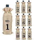 Hodeacc 10 bolsas de botella de vino numeradas de yute con cuerda, bolsas de vino, protectores reutilizables para botellas de vino tinto para bodas, fiestas, cata de vinos ciegos