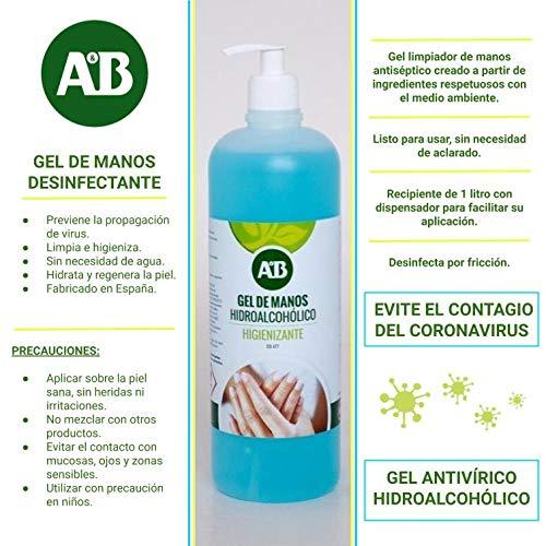 DUAMY Producto DE Limpieza para Manos Gel ANTISÉPTICO con Alcohol. Gel DESINFECTANTEDE 1 LITRO con DOSIFICADOR. NO Necesita Agua