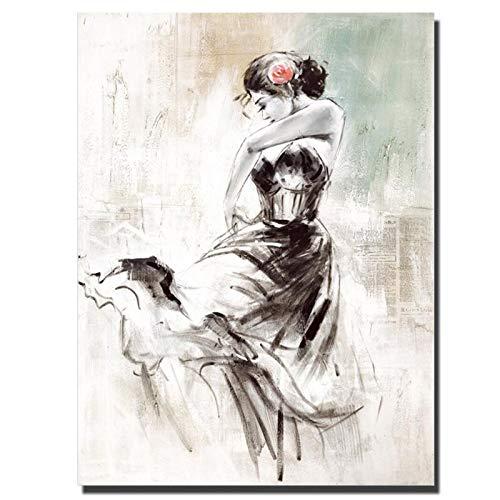 wZUN Impresión en HD Sexy Bailarina Pintura al óleo Impresa en Lienzo Impermeable Arte de Pared Abstracto Imagen decoración del hogar Cartel 50x60 cm