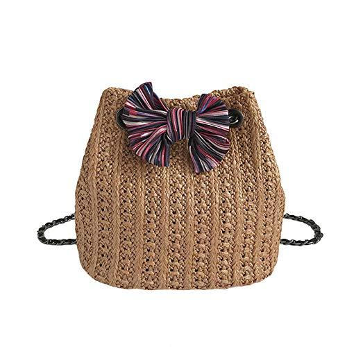 Bolso de paja con lazo a la moda de verano para mujer, bolso de playa popular para mujer, bolso de hombro informal de viaje para mujer, minicadenas, bandolera 17x24cm