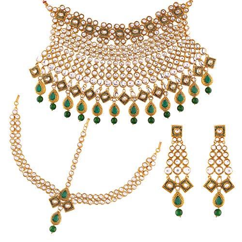 I Jewels IJ328G - Set di Collana Girocollo e Orecchini placcati in Oro con Perle kundan, per Matrimonio e Matha Patti