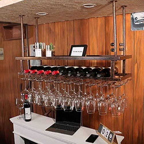 Estante de Vino Que cuelga los estantes de Copas de Vino Tinto, Montaje en el Techo, Soporte de Botella de Vino Colgante, Estante de Copa de Vino de Metal, Montaje en Pared Negro, a, 80 * 30 * 22
