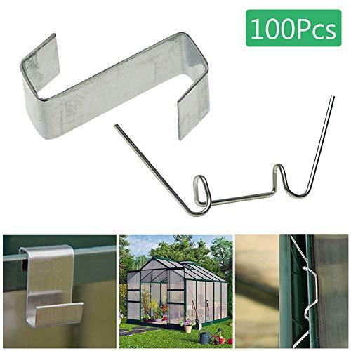 mothcattl Befestigungsclips, 50 Stück Typ W + 50 Stück Z-Typ Metall Gewächshaus Glas Clips Befestigungsklemmen Gartenwerkzeuge