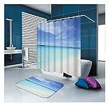KnSam Duschvorhänge Aus Polyester Duschvorhang Und Bodenmatte Set Vintage-Muster Duschvorhang Breit: 165Cm Höhe: 180Cm Dunkelblaues Beige