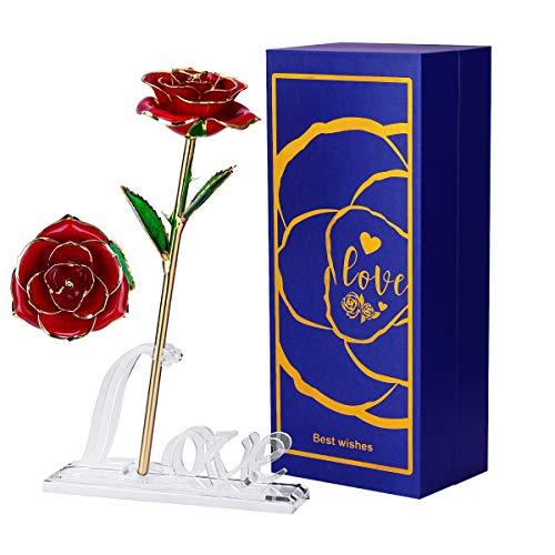Efanty Rosa 24K, Rosa de Oro Chapada en Oro con Caja de Regalo para Madre para Amor en el Día de San Valentín para Aniversario para Amigos como Un Regalo de Cumpleaños (Rojo)