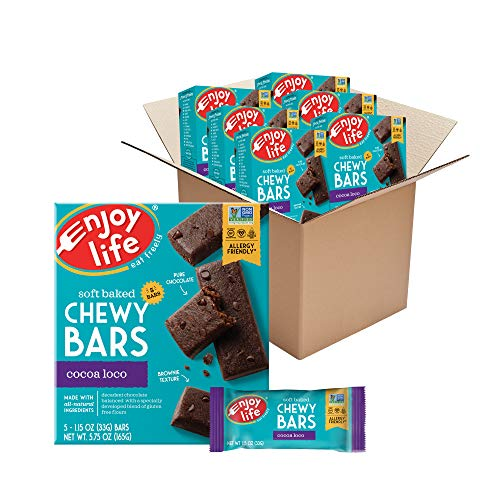 Enjoy Life Foods Chewy Bars, Cocoa Loco Nut Free Bars, Soy Free, Dairy Free, Non GMO, Gluten Free, 6 Boxes (30 Bars Total) (Pack of 6)