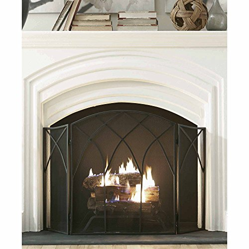 Pleasant Hearth. Gothic Fireplace Screen, Black