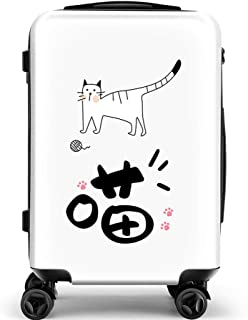 YCYHMY Cartoon Trolley Suitcase Suitcase ABS Material Hard Shell Trolley White 20 inch