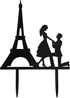 YeahiBaby Mr mrs Cake Decoration Eiffel Tower Cupcake Toppers Bride and Groom Cupcake Decoration for Wedding Valentine's Day