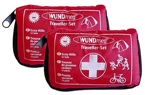 2 Stück Wundmed Erste Hilfe Set 32-teilig in praktische Etui mit Gürtelschlaufe Verbandskasten Verbandstasche