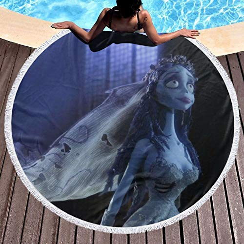 Tim Burton'S Corpse Bride - Manta de playa redonda con borlas de flecos de microfibra, tapete de meditación para yoga, 59 pulgadas