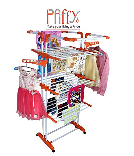 PAffy Cloth Drying Stand, 3 Pole 3 Layer, King Jumbo Multi-Color