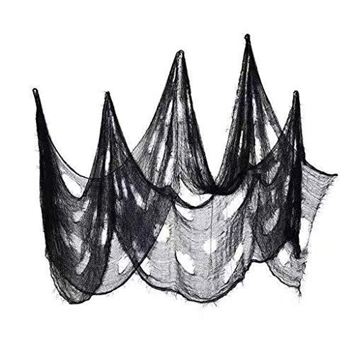 cxnwuggfvsc gruseliger Gaze-Stoff, für Türen, Wände, Eingänge, Halloween, 76,2 x 238,1 cm, Schwarz, 1 Stück