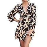 beautyjourney Mini Vestido de Leopardo con Cuello en V para Mujer Vestido Cruzado de Manga Larga con Cuello Redondo de Fiesta Vestido de cóctel Corto Bodycon