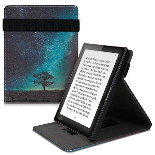 kwmobile Custodia Verticale e-Reader Compatibile con Kobo Aura Edition 1 - con Fascia e leggìo - Flip Case in Pelle PU - Natura e Spazio Blu/Grigio/Nero