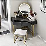 LLFFDC Tocador Triangular con Espejo LED y tocador Taburete Esquina Dormitorio Escritorio de Maquillaje Muebles Modernos Simples,Negro