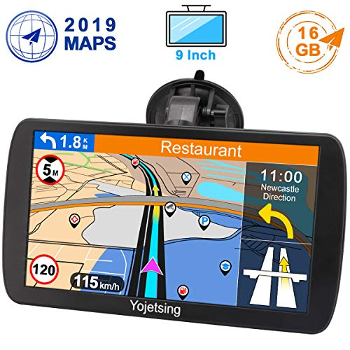 Yojetsing GPS Navi Navigation für Auto LKW PKW 9 Zoll 16GB Lebenslang Kostenloses Kartenupdate Navigationsgerät mit POI Blitzerwarnung Sprachführung Fahrspurassistent 2019 Europa UK 52 Karten