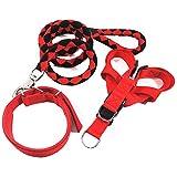 LAOSHIZI Correa de Perro Ajustable Collares para Perros Arneses Tipo Chaleco para Perros Pequeños, Medianos y Grandes Rojo