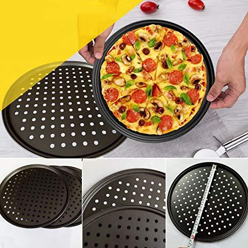 Plato de pizza de acero al carbono antiadherente para pizza, bandeja de malla, plato redondo y profundo, bandeja de pizza, molde para hornear (color: 4)
