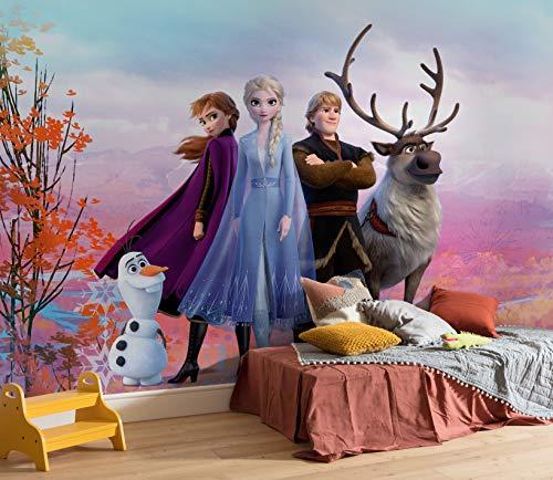 Disney Fototapete von Komar FROZEN ICONIC - Größe 368 x 254 cm (Breite x Höhe), Anna, Elsa, Olaf, Frozen 2, Eiskönigin, Tapete, Wandgestaltung, Kinderzimmer, Dekoration - 8-4103