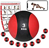 [page_title]-POWRX Medizinball Gewichtsball 1-10 kg | Schwarz/Rot (3 kg)