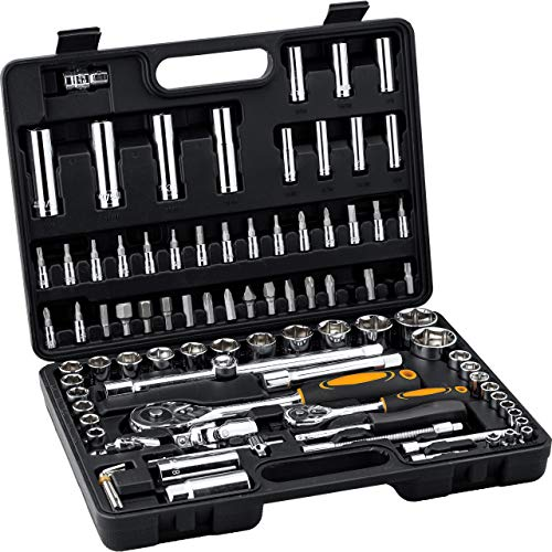"""Hi-Q Tools Steckschlüsselsatz 94-teilig """"Zoll"""", sehr universeller Chrom-Vanadium Werkzeugsatz für ältere amerikanische und englische Modelle, Chrom, ¼ und ½ Zoll, zusätzlich 7 Innensechskantschlüssel"""
