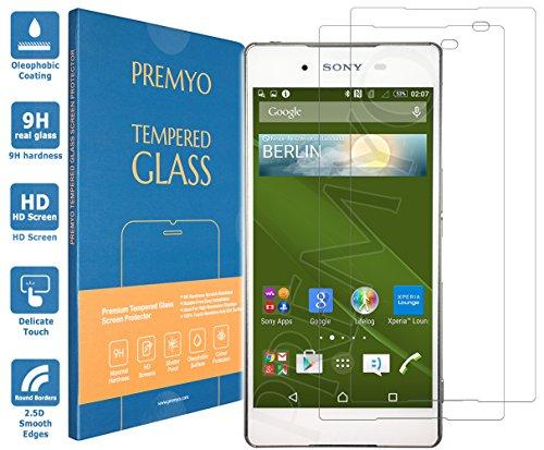 PREMYO 2 Stück Panzerglas Schutzglas Displayschutzfolie Folie kompatibel für Sony Xperia Z3+ Plus Blasenfrei HD-Klar 9H Gegen Kratzer Fingerabdrücke