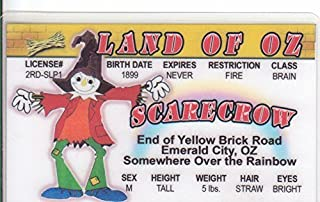 Scarecrow LAND OF OZ Novelty Drivers License / Fake I.d. Identification for Wizard of Oz / Ray Bolger / W.W. Denslow Fans
