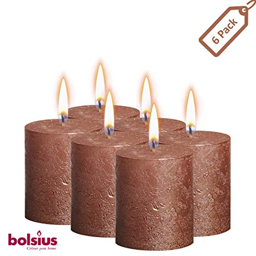 Bolsius Rustic Metallic Set of 6 Metallic Copper Unscented Pillar Candles Inches – 2.75 X 3.25 Decoration Dinner Wedding Candles – Perfect Use for Home Décor - Church-Spa Candle – Restaurant 80/68m