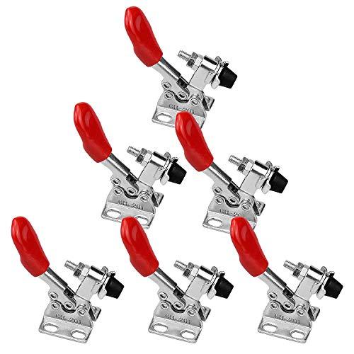 WEKON 6 Pcs Kniehebelspanner Metall Hebel Schnellspanner Knebelklemme GH-201 Vertikaler Handwerkzeuge Horizontal Toggle Clamp mit Fassungsvermögen