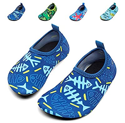 Giotto Kids Swim Water Shoes Quick Dry Non-Slip for Boys & Girls, G015F-Blue, 30-31