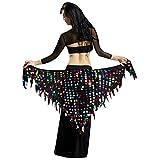 YuanDian Mujer Triángulo Danza Del Vientre Cinturon Cadera Pañuelo Bufanda Brillantes Lentejuelas Sirena Profesional Tribal Árabe Oriental Danza Cintura Cadena Faldas Ropa Colores Mezclados